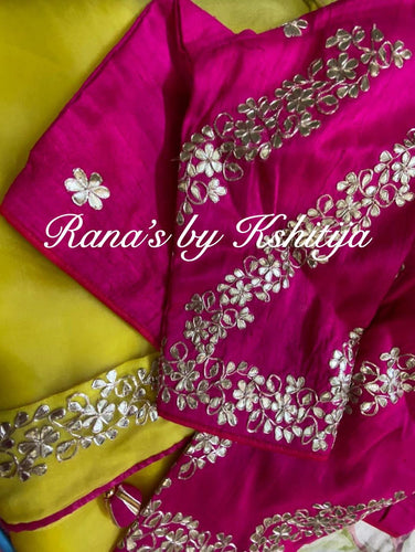 Pure Organza Saree in Yellow with Hot Pink Blouse - Rana's by Kshitija