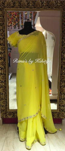Yellow Pure Georgette Designer Saree - Rana's by Kshitija