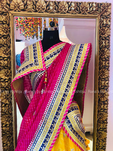 Hot Pink and Yellow Lehenga Set