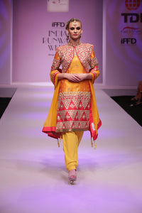 Yellow raw silk salwar suit with jacket - Rana's by Kshitija