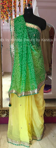 A Beautiful Yellow and Green Designer Bandhej Saree
