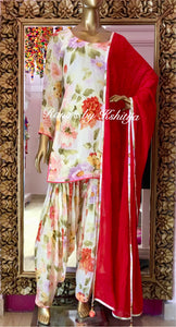 Floral pure georgette patiala suit set