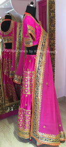Pompous pink beautiful layered lehenga.
