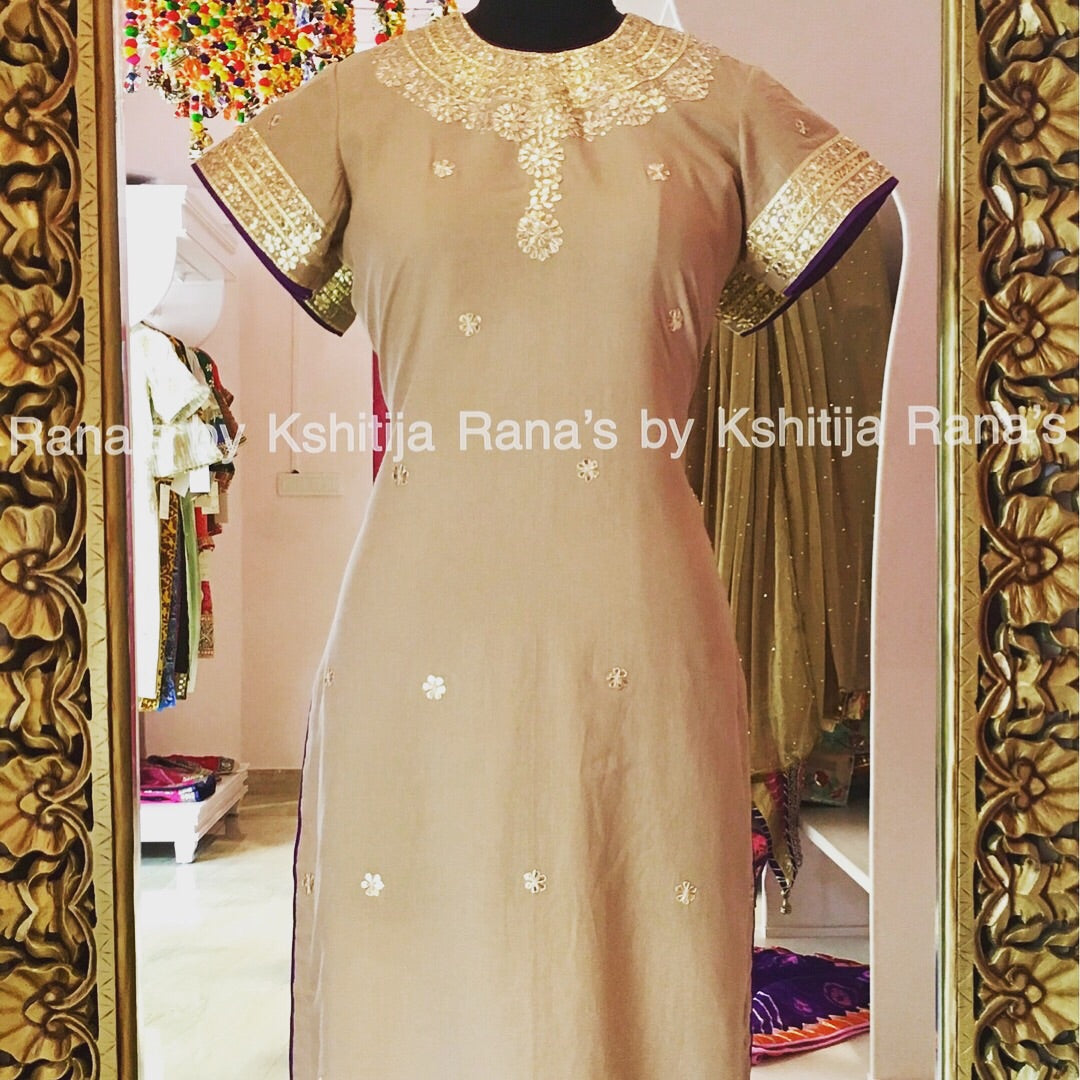 Pure Cambric Pretty Handworked Kurti