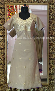 Pretty Natural Colored Handworked Neckline Kurti