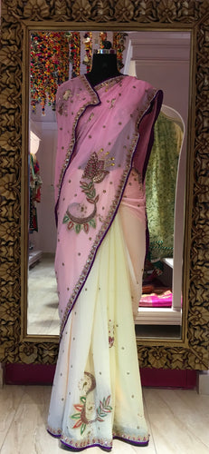 Pure georgette ombré dyed saree
