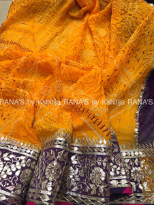 Designer half half yellow purple bandhej saree