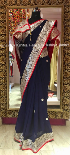 Blue Fine Gota Handworked Saree