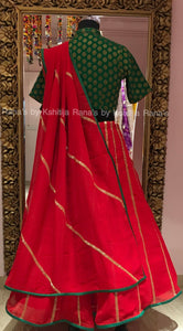 Radiant Red and Green Lehenga Set