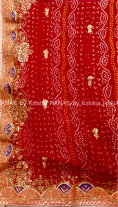 Red Bandhej saree in beautiful Gota Reshma work