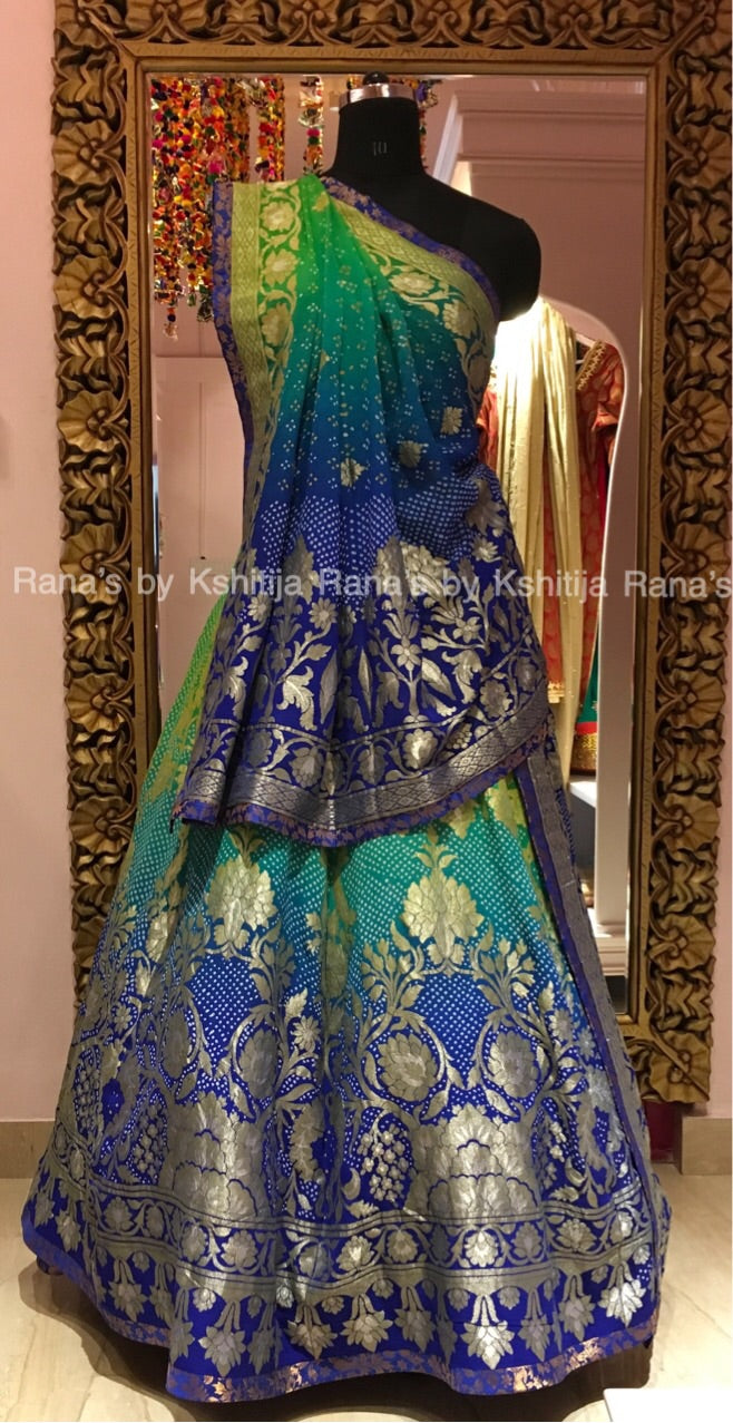 Beautiful Banarsi and Bandhej Lehenga Set