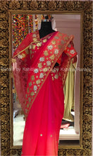 Beautiful lotus design platinum pure chiffon saree