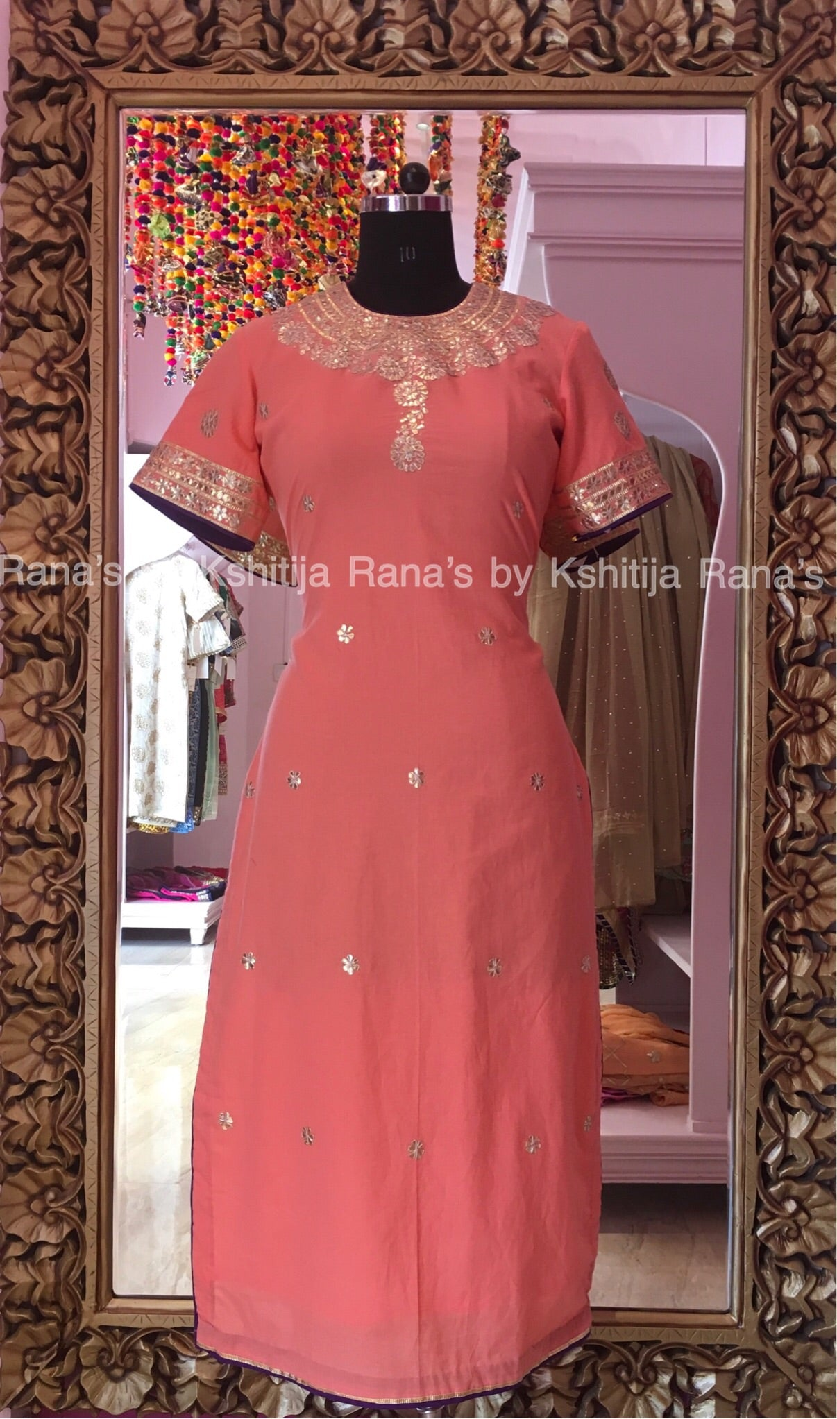 Pure Cambric Pretty Handworked Kurti Peach