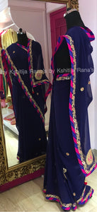 Deep blue and pink pure georgette saree
