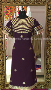 Purple Boat Neck Handworked Neckline Kurti