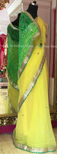 Plain saree with Bandhani Pallu, a Designer Bandhej Saree - Rana's by Kshitija