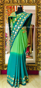 Lotus design pure georgette saree in gota handwork
