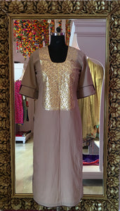 Grey kurti with Heavy Neckline Gota Work