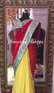 Half Half Red Yellow Gota Leheriya Saree - Rana's by Kshitija