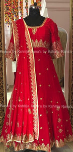 Aari worked rich anarkali dress in pure georgette