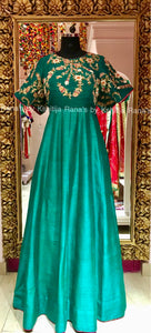 Regal Floor Length Gown in Emrald Green