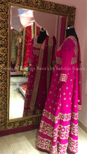 Pink floor length kalidar suit set