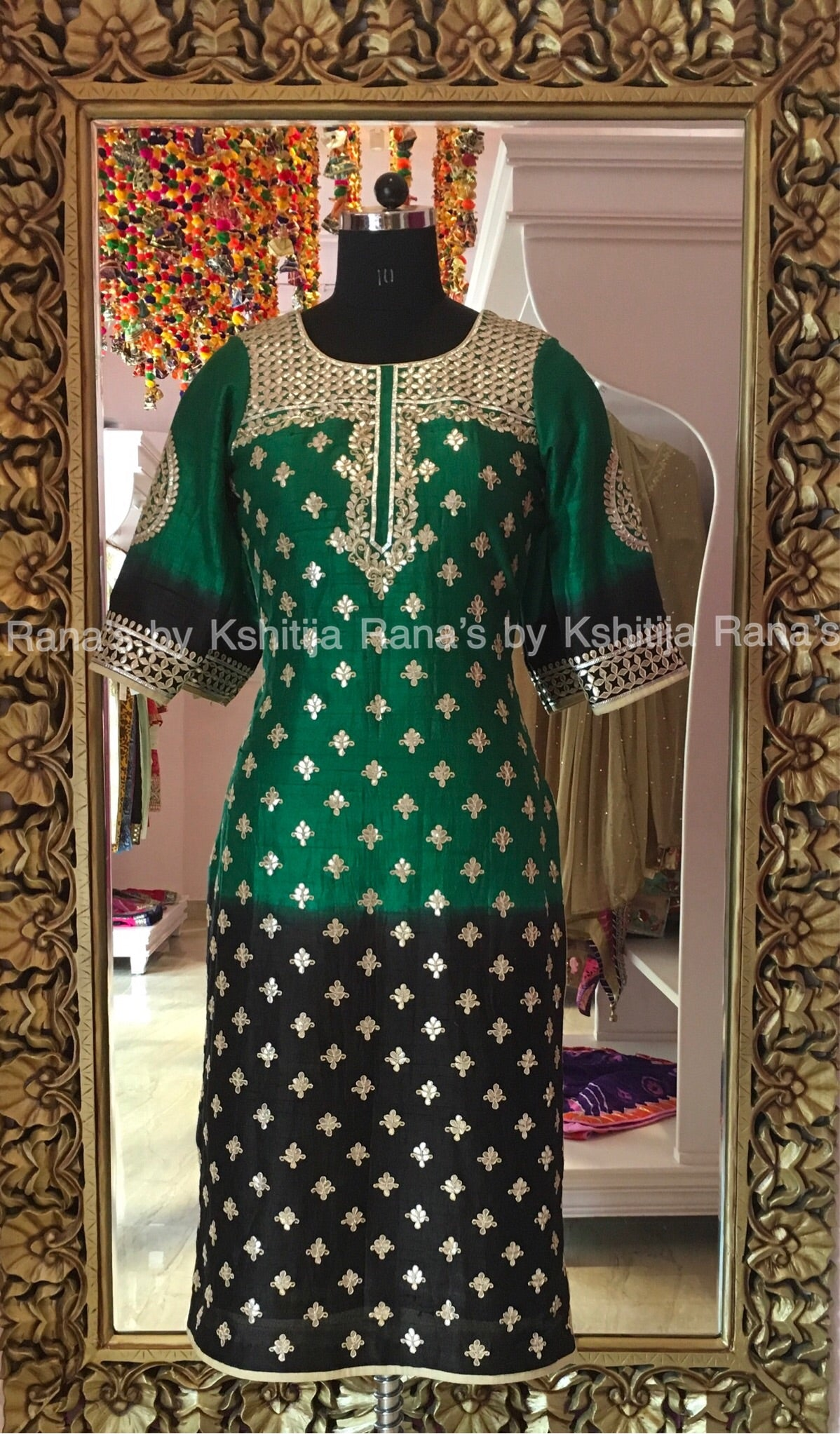 Rich Gota Handworked kurti in pure raw silk