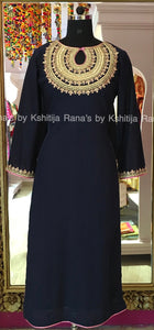 Rich neckline worked kurti deep blue