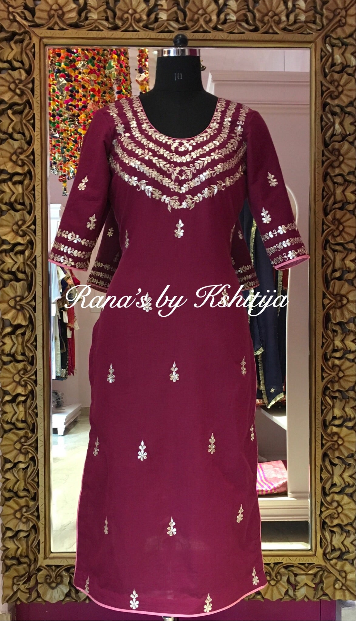 Handworked pure cambric wine coloured kurti