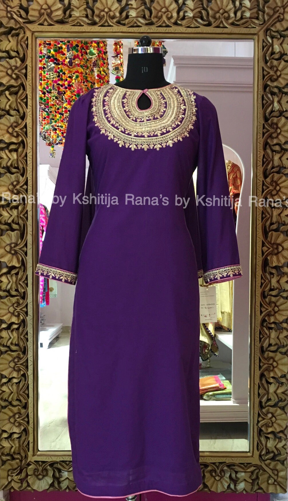 Rich neckline worked kurti purple - Rana's by Kshitija