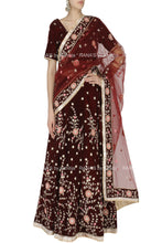 Rich Coke Brown Velevet Lehenga Laden in Zardozi Handwork