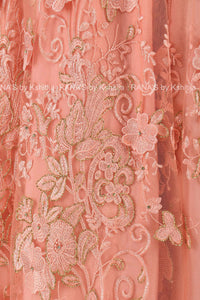 Pretty Peach Floor Length Lace Dress