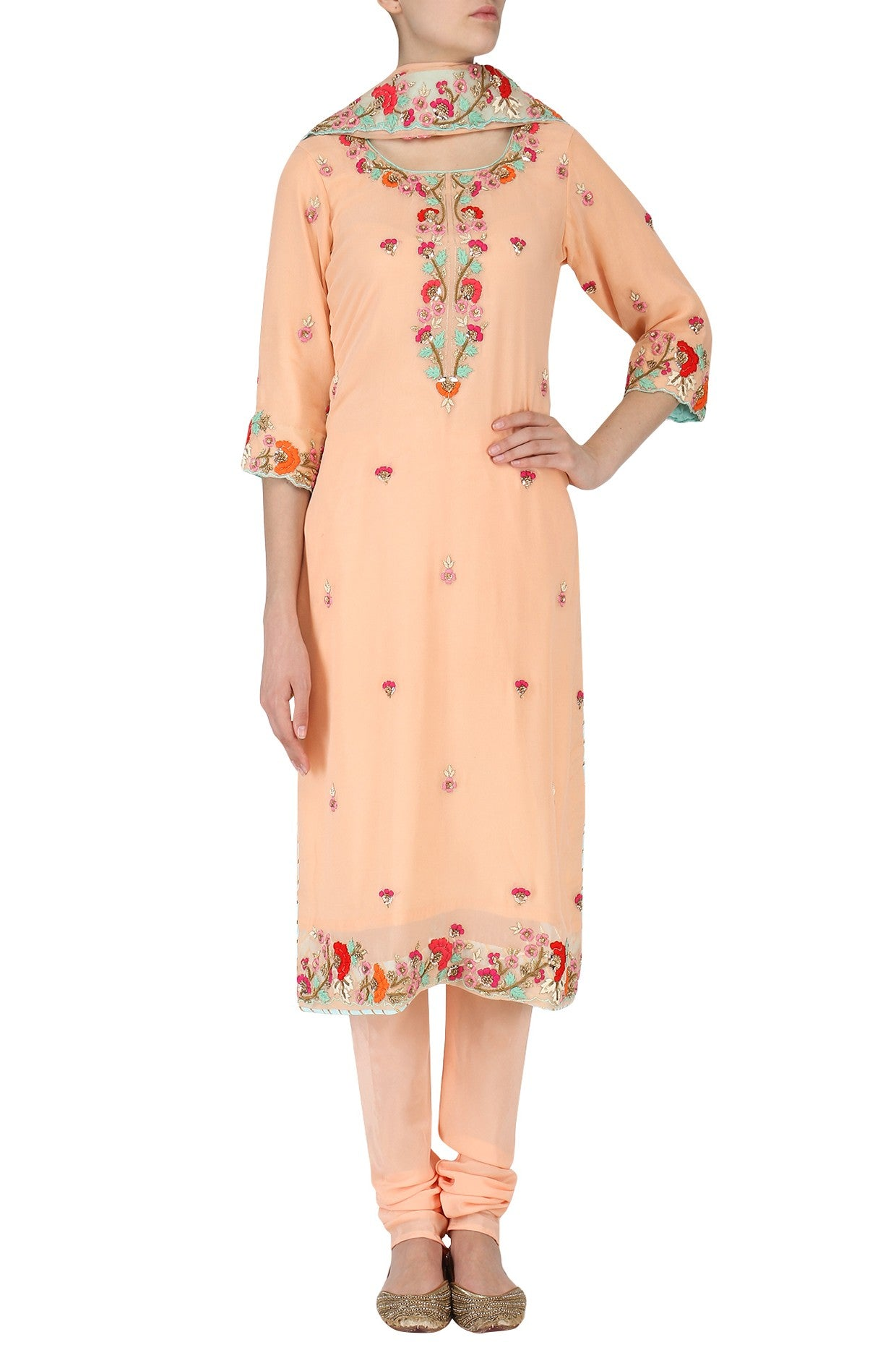 Resham Worked Fine Peach Salwar Suit