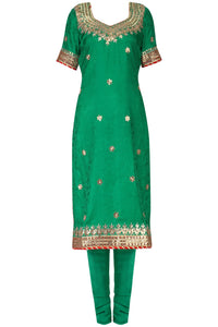 Green and Red Gold Bandhej Salwar Suit