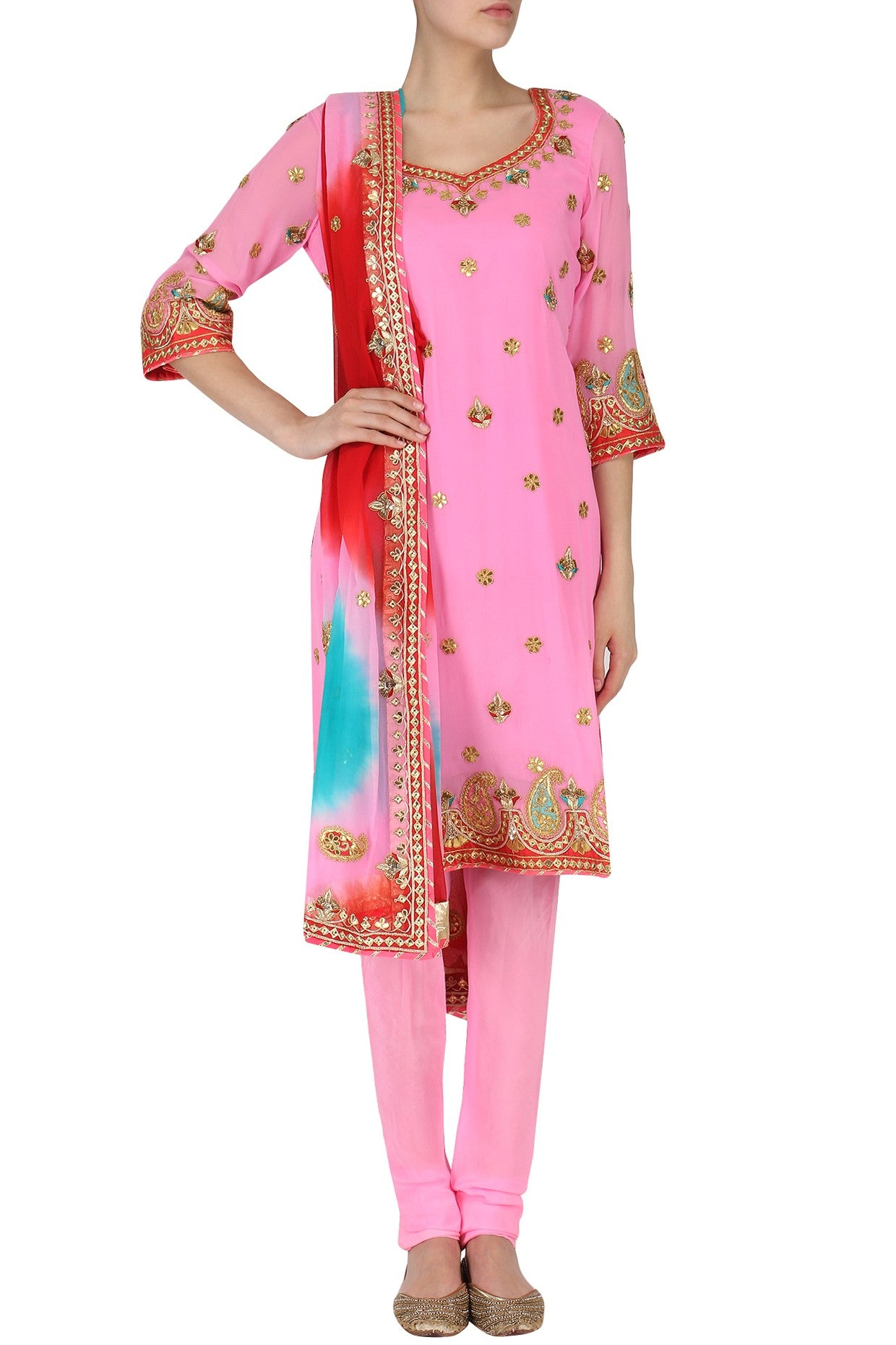 Pretty Pink Salwar Suit Set with Ombre Dupatta