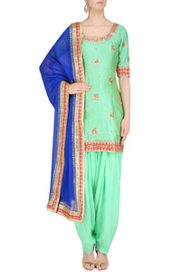 Mint green with contrast blue patiala salwar suit - Rana's by Kshitija