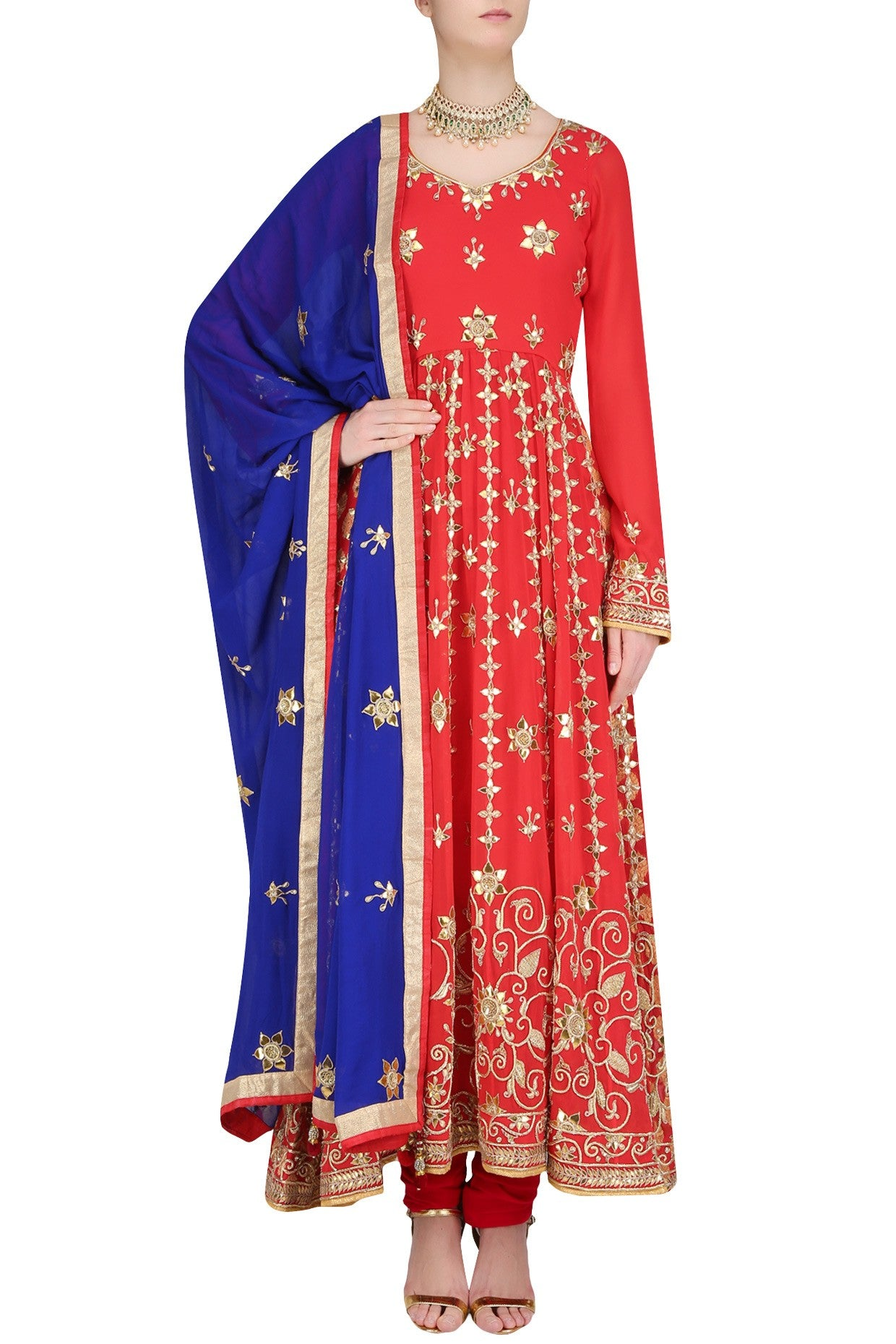 Ravishing and radiant red floor length flary kalidar