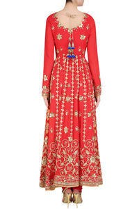 Ravishing and radiant red floor length flary kalidar - Rana's by Kshitija