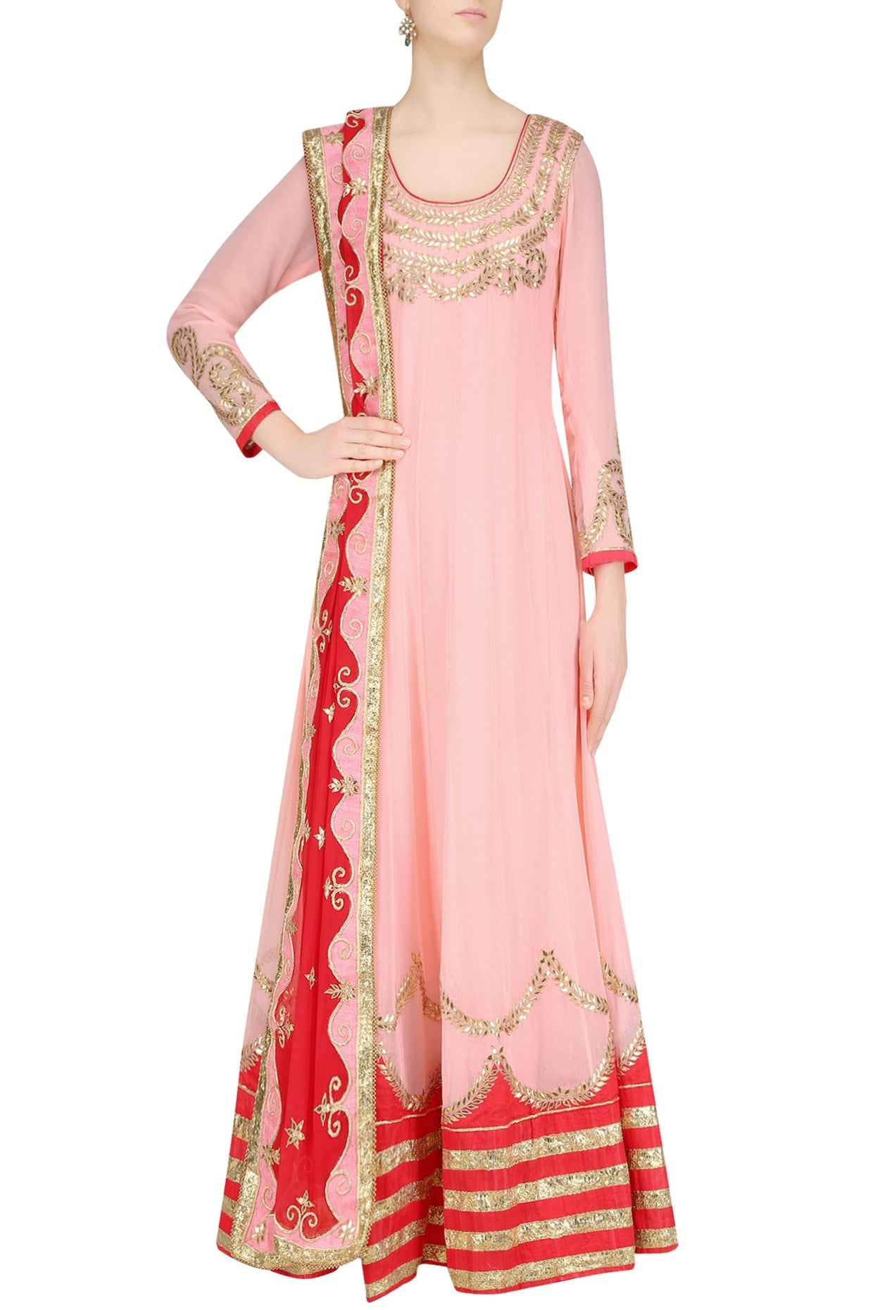 Sweet peach and red floor length kalidar