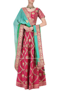 Deep Pink Gota and Resham Embroidered Lehenga with Ombre Dupatta Set - Rana's by Kshitija