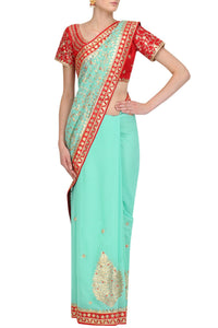 Mint Blue Jaal Gota Saree - Rana's by Kshitija