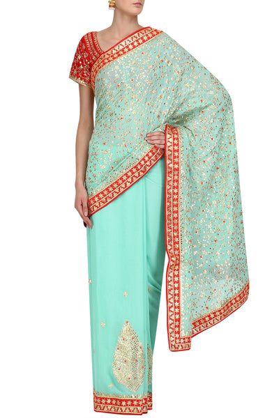 Mint Blue Jaal Gota Saree