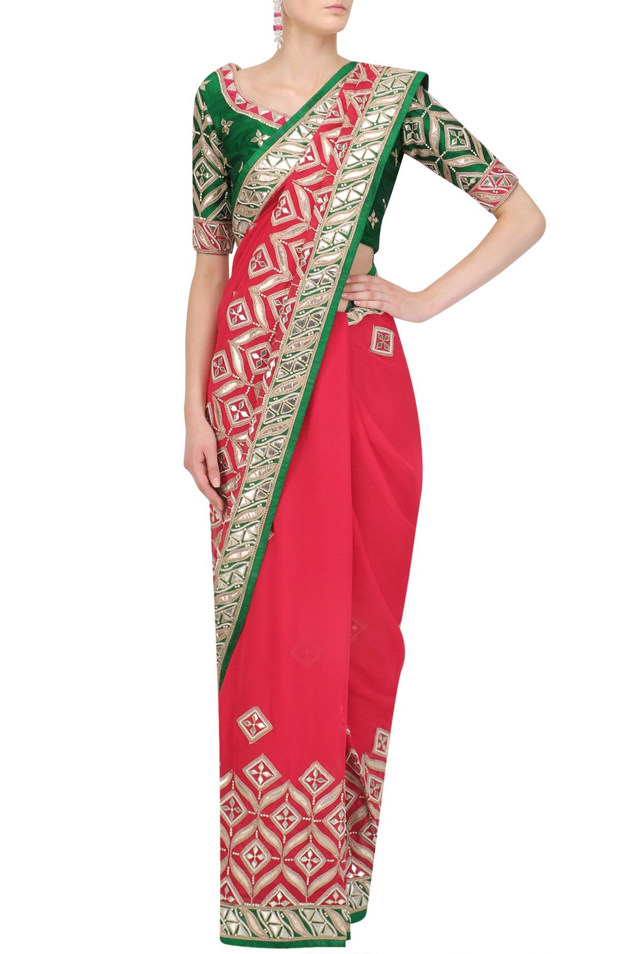 ranas-by-kshitija-radiant-red-handcut-gota-patti-saree