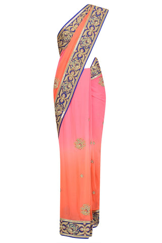 Pastel Peacock Ombre Dyed Saree
