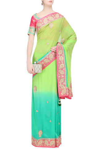 Shaded green border butta style saree