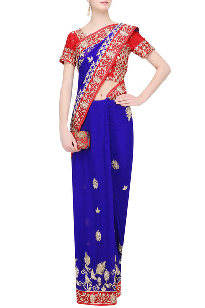 Royal radiant blue saree