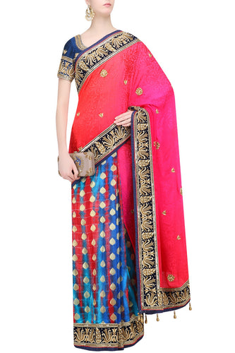 Shibori and jacquard half half style saree
