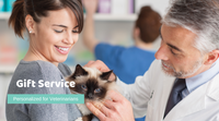 Image of Veterinarian treating a cat and that uses our business gift service to send Personalized Pet Sympathy Gifts to their Customers and that retail our dog memorial products