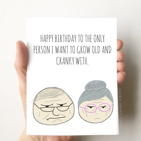 Debbie Draws Funny - BEST SELLER! Old & Cranky Funny Birthday Card Husband Wife