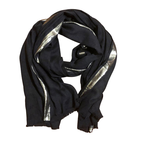 Chloe & Lex - Ash Cotton Lurex Scarf Black